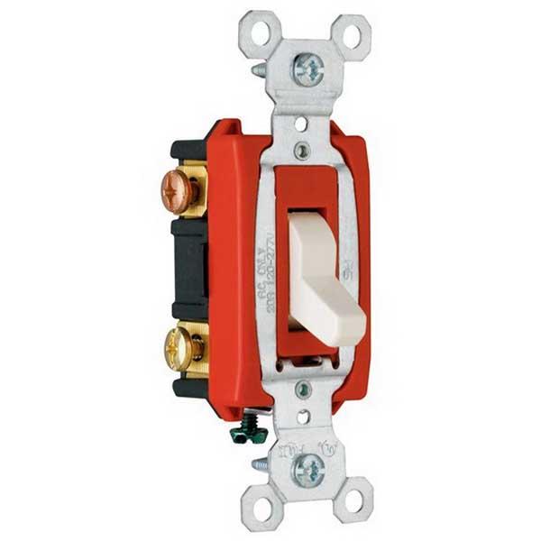 Pass & Seymour CSB20AC3-LA Hard Use Specification Grade 3-Way Switch; 20 Amp, 120/277 Volt, Light Almond