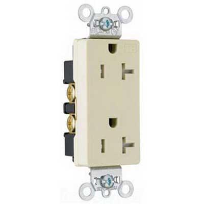 Pass & Seymour TR26362-I Heavy Duty Tamper-Resistant Duplex Receptacle; 2-Pole, 3-Wire, 20 Amp, 125 Volt, 5-20R NEMA, Wallplate Mount, Ivory