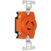 Pass & Seymour IG4710 Turnlok® Single Receptacle; 2-Pole, 3-Wire, 15 Amp, 125 Volt, L5-15R NEMA, Screw Mount, Orange, Isolated