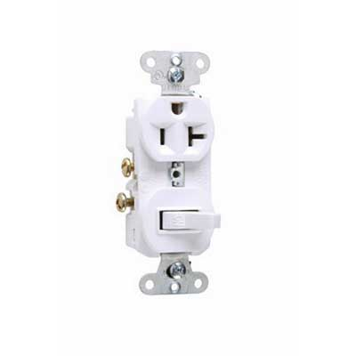 Pass & Seymour 671-W Combination Single-Pole Switch and Single Receptacle; 1-Pole, 3-Wire, 20 Amp, 125/250 Volt AC, 5-20R NEMA, Wall Mount, White