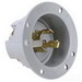 Pass & Seymour L1520-FI TurnLok® Flanged Locking Inlet; 3-Pole, 4-Wire, 20 Amp, 250 Volt AC, NEMA L15-20P, Gray