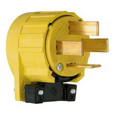 Pass & Seymour 8302-AN Specification Grade Non-Grounding Angled Plug 4-Pole  4-Wire  60 Amp  120/208 Volt  NEMA18-60  Yellow
