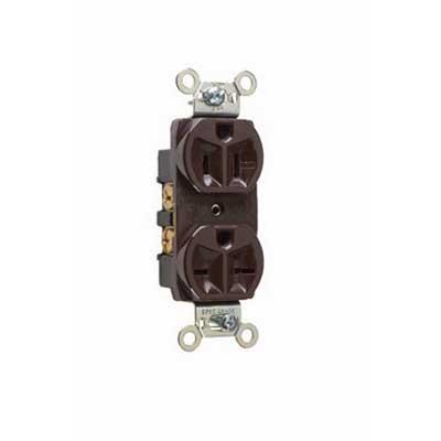 Pass & Seymour 5290 Hard Use Specification Grade Straight Blade Combination Duplex Receptacle 2-Pole  3-Wire  15 Amp  125/250 Volt AC  6-15R  5-15R NEMA  Screw Mount  Brown