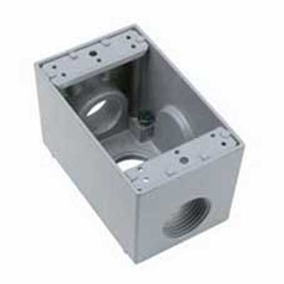 Pass & Seymour WPBD43 1-Gang Weatherproof Box Die-Cast Aluminum, Gray, 23 Cubic-Inch, 1 1 Inch Hub Each Side, 1 1 Inch Hub Back,""