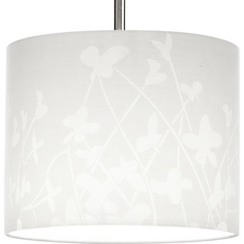 Progress Lighting P8765-01 Chloe Collection Modular Pendant System Contemporary/Soft  Incandescent Lamps  Floral Fabric Pattern  White