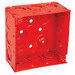 Garvin 52171-RED 4 Inch Square Box; 2-1/8 Inch Depth, Steel, 16 Knockouts