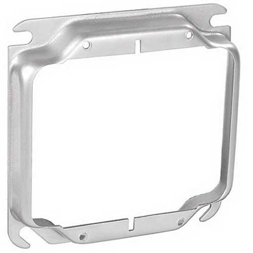 Garvin 52C18-5/8 4 Inch 2-Gang Square Raised Device Ring 5/8 Inch Depth  Steel