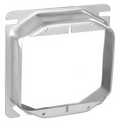 Garvin 52C19 4 Inch 2-Gang Square Raised Device Ring 1 Inch Depth  Steel