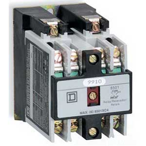 Schneider Electric / Square D 8501XO40V08 Control Relay; 10 Amp AC, 5 Amp DC, 600 Volt AC, 4-Pole, Surface Or Rail Mount