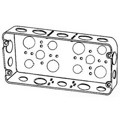 Thepitt TP630 3-Gang Device Box; 8.625 Inch Width x 1.625 Inch Depth x 4.500 Inch Height, Steel, 58 Cubic-Inch, 22-Knockouts