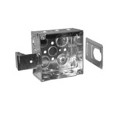 Thepitt TP403SSB 4 Inch Square Bracketed Outlet Box; 2-1/8 Inch Depth, Steel, 30.3 Cubic-Inch, 16 Knockouts