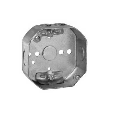 Thepitt TP298 Octagon Outlet Box With Clamp; 4 Inch Width x 1-1/2 Inch Depth x 4 Inch Height, Steel, 15.5 Cubic-Inch