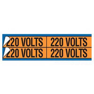 Thomas & Betts WJT-5018 E-Z-Code® WJT Series Style-A Conduit and Voltage Marker Card; Rugged WDA Self Sticking Vinyl, Black On Orange