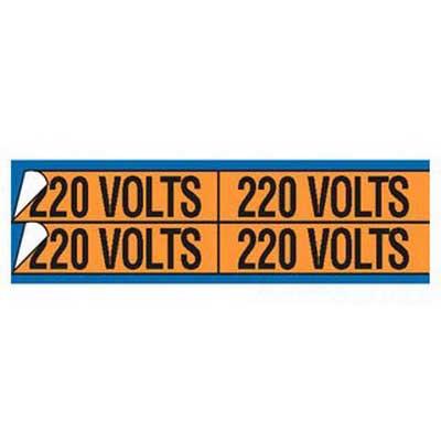 Thomas & Betts WJT-5047 E-Z-Code® WJT Series Style-A Conduit and Voltage Marker Card; Rugged WDA Self Sticking Vinyl, Black On Orange
