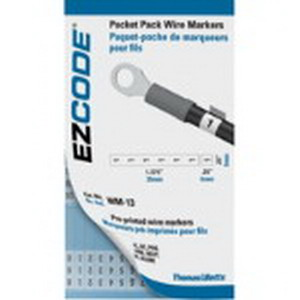 Thomas & Betts WM-0-THRU-9 E-Z-Code® WM Series Wire Marker Book; Vinyl Cloth, Black On White