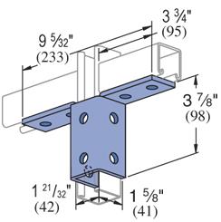 Unistrut P2347EG 10-Hole Double Corner Wing Shape Angle Connector