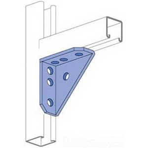 Unistrut P2484HG Corner Gusset 7-Hole 90 Degree Gusseted Angular Fitting Steel  Hot-Dipped Galvanized