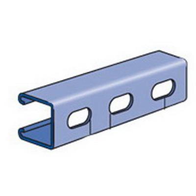 Unistrut P1000T-10GR Slotted Channel; 12 Gauge, 10 ft x 1-5/8 Inch x 1-5/8 Inch, 1-1/8 Inch x 9/16 Inch Slot Size, Type T Slot, Steel, Perma-Green® III
