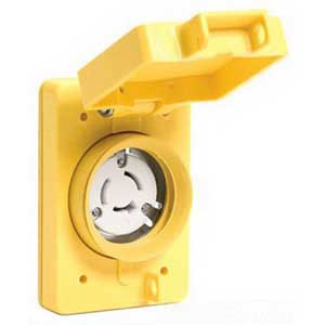 Woodhead / Molex 69W08 Watertite® Flip Lid Female Locking Blade Single Receptacle; 3-Pole, 3-Wire, 30 Amp, 250 Volt, Yellow