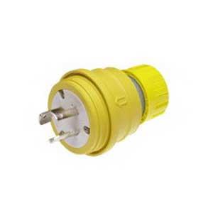 Woodhead / Molex 28W08 Watertite® Plug with Locking Blade; 3-Pole, 3-Wire, 30 Amp, 250 Volt, Yellow