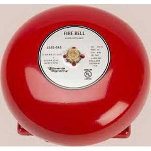 """""Edwards 438D-6N5-R 430D Series Vibrating Fire Alarm Bell 6 Inch, 120 Volt AC, 95 DB At 1 m, 85 DB At 10 ft, Red,"""""" 659938"