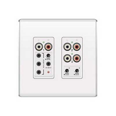 On-Q AU1011-WH lyriQ™ Flush Mount Triple Source Input; Audio Out: RJ45 Connector 1, & 2, IR In: 3.5mm Stereo Audio Jacks Connection, White