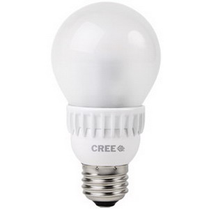 Cree A19-40W-27K-B1 LED Light Bulb; 6 Watt, 2700K, 80 CRI, A19, Medium Screw (E26) Base, 25000 Hour Life, Warm White