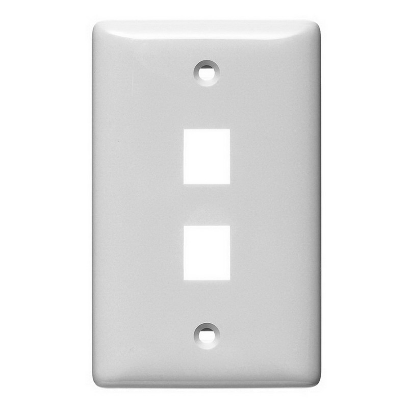 Hubbell Wiring NSP12W Netselect® Multimedia Faceplate Without Label; 1-Gang, 2-Port, Flush/Screw Mount, White