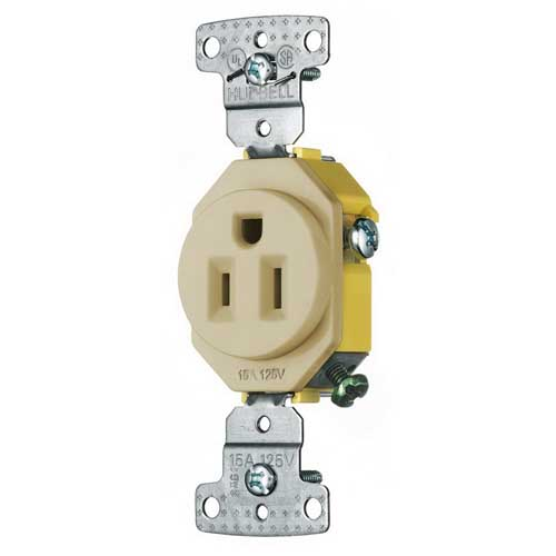 Hubbell Wiring RR151LATR trade Select Tamper Resistant Straight Blade Single Receptacle; 2-Pole, 3-Wire, 15 Amp, 125 Volt, 5-15R NEMA, Screw Mount, Light Almond