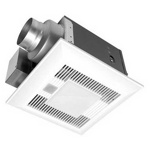 Panasonic FV-11VQL6 WhisperLite™ Bath Ventilation Fan With Light; 23.4 Watt, Heater, 120 Volt, 0.2 Amp, 110 cfm, 0.3 Sones, Ceiling Mount