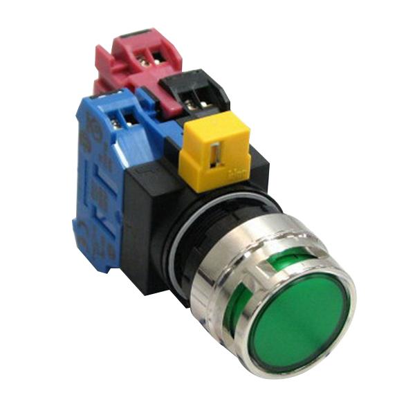 Idec HW4L-MF2F11QD-G-120V Illuminated Pushbutton With Shroud; Momentary, 120 Volt AC, NO/NC, 22 mm Mounting Hole