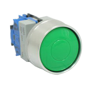 Idec ABGW410-G Pushbutton With Full Shroud; Momentary, NO, 22 mm Mounting Hole
