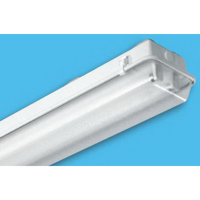 H.E. Williams 92-4-232-A-EB2 2-Light Industrial 92 Series Fully Enclosed Fixture; 64 Watt, Surface/Suspended Mount, Polyester Reinforced Fiberglass, White