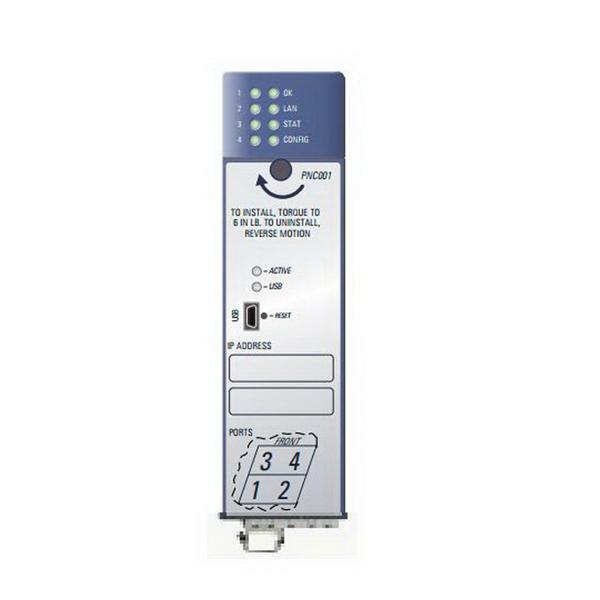 GE Fanuc IC695ETM001 Ethernet Module; (2) RJ-45 ports & (1) MAC Address, 840 Milli-Amp at 3.3 Volt DC & 614 Milli-Amp at 5 Volt DC