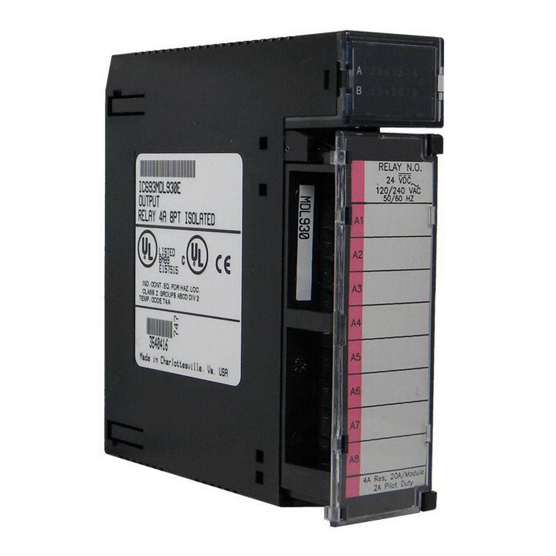 GE Fanuc IC693MDL930 AC/DC Voltage Isolated Relay Output Discrete Output Module; 8 Points, 0 - 125 Volt DC/5/24/125 Volt DC Nominal, 0 - 265 Volt AC/120/240 Volt AC Nominal Output