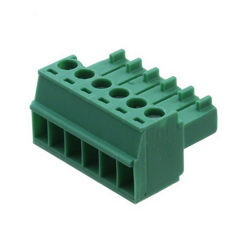 Phoenix 1840405 MC 1.5/6-ST-3.5 Printed-Circuit Board Connector; 8 Amp, 160/320 Volt, M2 Screwed Connection, Green