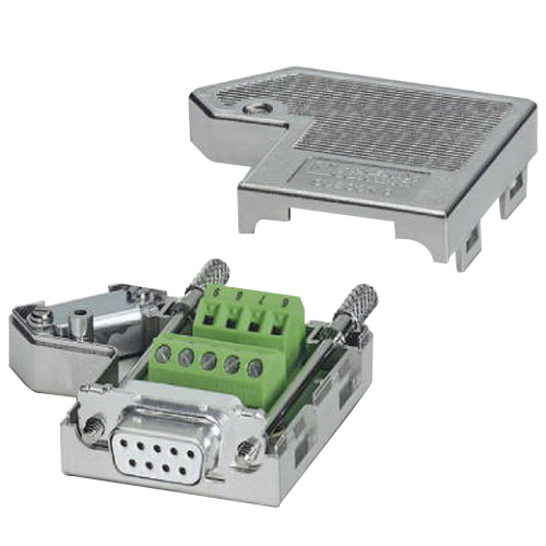 Phoenix 2761499 Female D-Sub Bus Connector; 100 Milli-Amp, 50 Volt, Metal Plated ABS Housing, 9 Positions