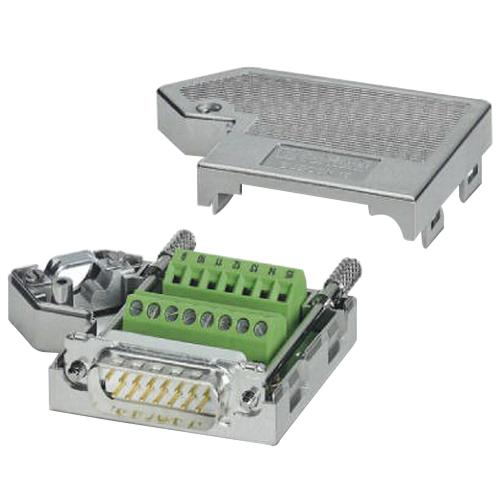 Phoenix 2761606 Male D-Sub Bus Connector; 100 Milli-Amp, 50 Volt, Metal Plated ABS Housing, 15 Positions