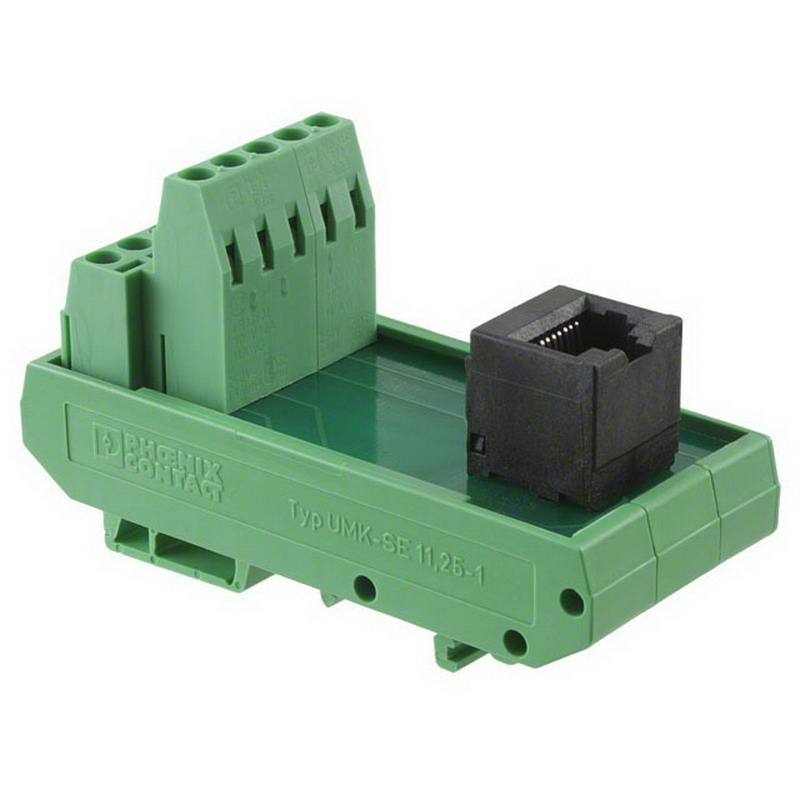 Phoenix Contact Phoenix 5525946 UMK-RJ 45/10 Passive Interface Module; 1 Amp, 120 Volt, Screw-Clamp/RJ45 Jack Connection, DIN-Rail Mount