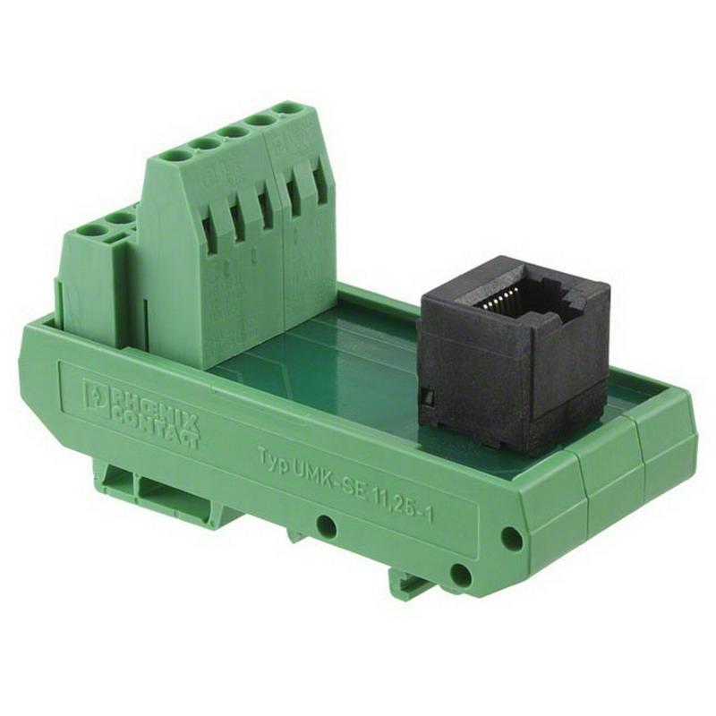 Phoenix 5525946 UMK-RJ 45/10 Passive Interface Module; 1 Amp, 120 Volt, Screw-Clamp/RJ45 Jack Connection, DIN-Rail Mount
