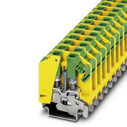 Phoenix 0790527 Ground Modular Terminal Block; Bolt, M4 Screw Connection, Polyamide, Green/Yellow