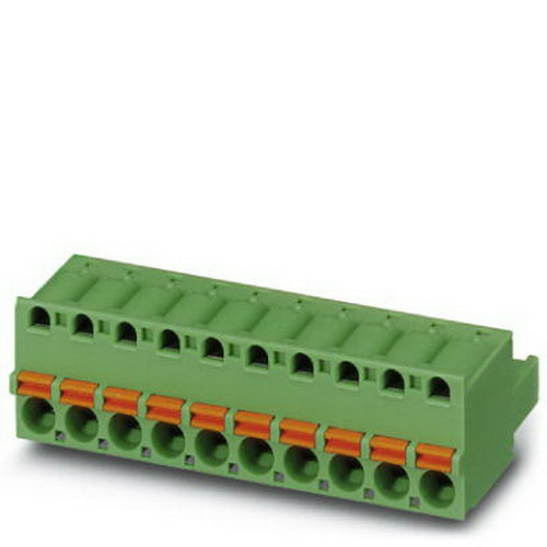 Phoenix 1873155 FKC 2 5/12-ST-5 08 Printed-Circuit Board Connector; 12 Amp Nominal, 250/320/630 Volt, Spring-Cage Connection, Green