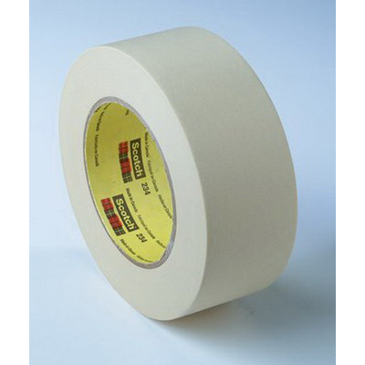 3M 234-48mmx55m Scotch® General Purpose Masking Tape; 55 m x 48 Inch x 5.9 mil, Smooth Crepe Paper Backing, Natural/Synthetic Rubber Adhesive, Tan