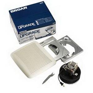 Broan Nu-Tone 690 Bath Fan Upgrade Kit; 120 Volt, 1.2 Amp, 4 Inch Horizontal Duct, Ceiling Mount, 60 cfm, 3 Sones, Rectangular, White