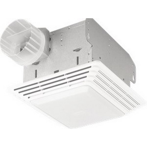 Broan Nu-Tone HD80L Heavy-Duty Fan/Light; 120 Volt, 1.5 Amp, 80 cfm At 0.10 Inch/65 cfm At 0.25 Inch, 2.5 Sones, 4 Inch Duct, Ceiling Mount, White