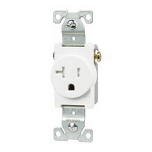 Cooper Wiring TR1877LABXSP Straight Blade Tamper-Resistant Single Receptacle; 125 Volt AC, 10-14 AWG, 2-Pole, Nylon Face and Base, Light Almond