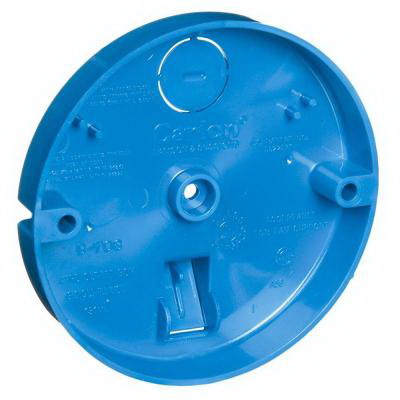 Carlon B708-SHK 1-Gang Ceiling Pan Outlet Box; PVC, Blue, For Fan Support Upto 35 lb and Fixture Support Upto 50 lb