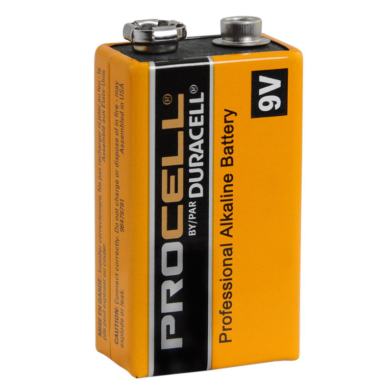 Duracell PC1604BKD Non-Rechargeable Primary Procell Professional Strength Alkaline Battery; 9 Volt, 550 Milli Amp-Hour, Alkaline-Manganese Dioxide Electrolyte