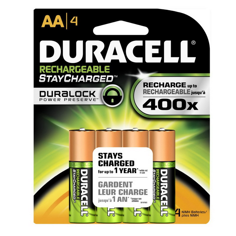 Duracell DX1500R4 Coppertop Pre-Charged Rechargeable Battery Pack; 2650 Milli Amp-Hour, NiMH Electrolyte, 1.2 Volt