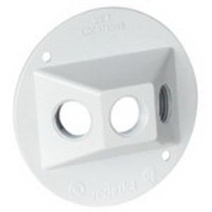Red Dot DSS-3-WH Standard Weatherproof Round Lamp Holder Cover; 4-1/8 Inch Dia, 3 Holes, Screw Mount, Stamped Aluminum, White